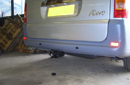 Detachable towbar designed for a custom made execcutive coach.