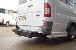 Custom made towbar designed for a wheelchair accessible Transit Minibus