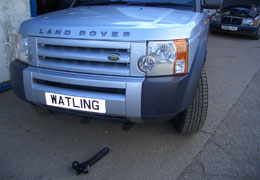Front push towbar next to Land Rover